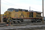 UP 9676, GE C44-9W, wrecked and rolled over, seen here at Hinkle Yard